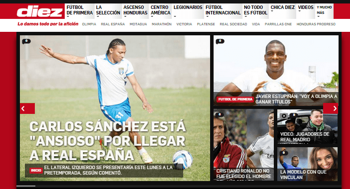 Diez.hn an Online Sports Website Serving the Spanish Community Globally