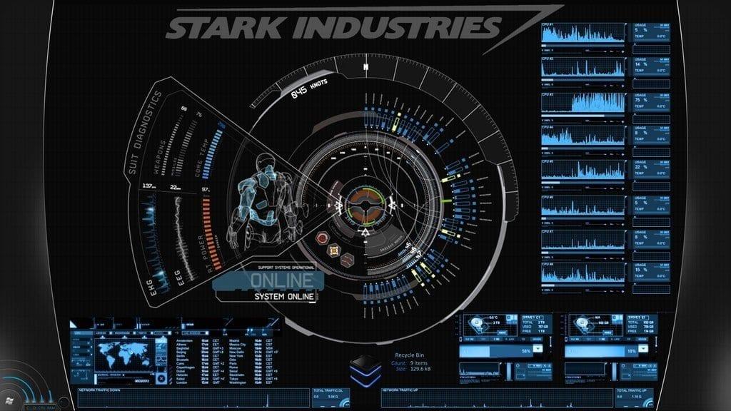 JARVIS + Iron Man - A Blue Rainmeter Skin Theme Inspiration | Freetins