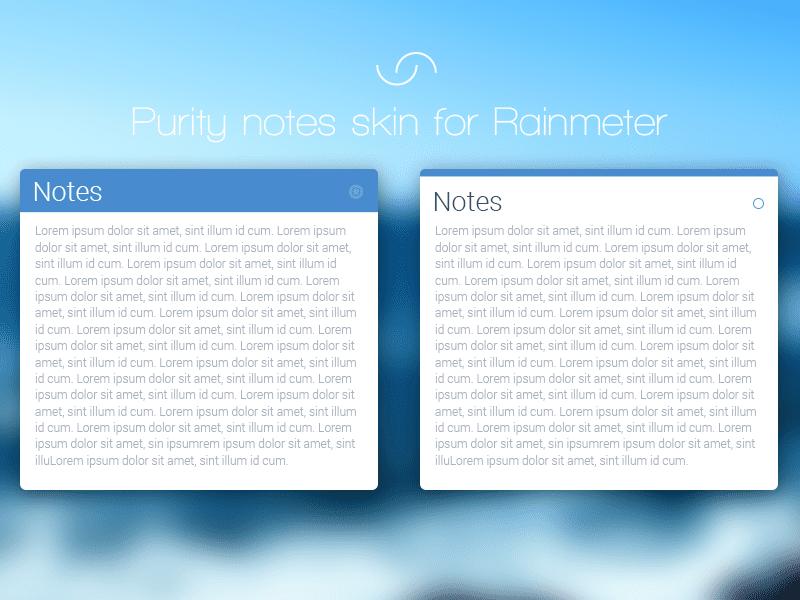 purity rainmeter notes skin